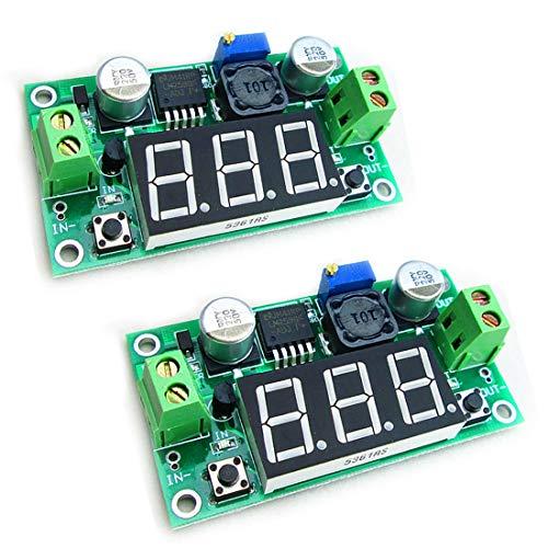HiLetgo 2pcs LM2596 Adjustable DC-DC Step Down Buck Power Convert Module 4.0-40V Input to 1.25-37V Output with LED Voltmeter Display
