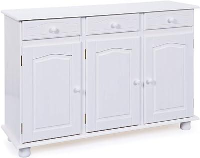 Buffet bas Inter Link Dresser en pin massif peint, blanc