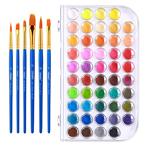 Watercolor Paint Set, Ohuhu 48-Color Watercolor Pallet Fundamentals Set Vibrant Water-Color Cakes with a Variety of 6 Paintbrush for Watercolor Paints, Acrylic Paint Adults & Kids Back to School Gift