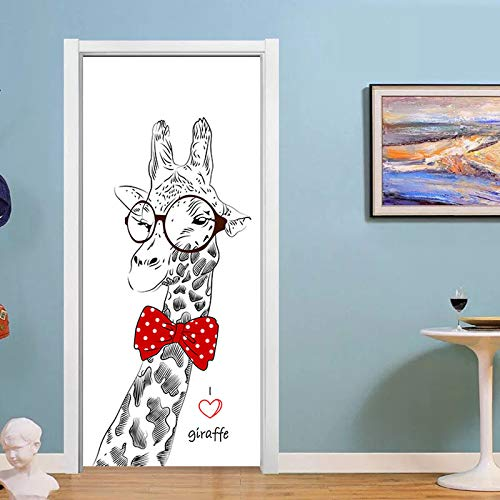 Frische Art grüne Baum Tür Aufkleber für Wohnzimmer Schlafzimmer Selbstklebende Tapete DIY Poster Home Decor A14 77x200cm