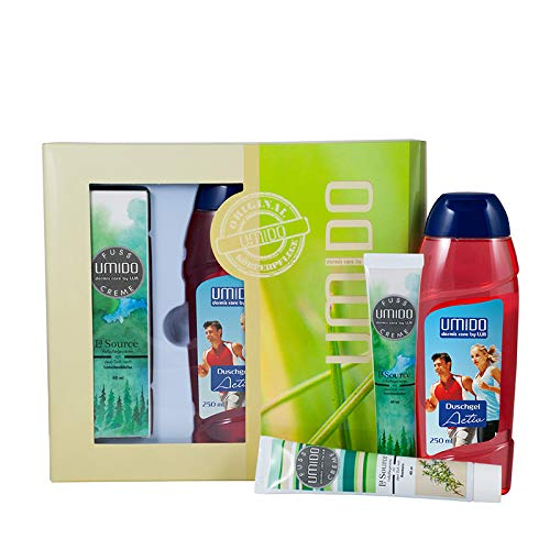 UMIDO Beautyset Fuß-Creme 45 ml Latschenkiefer, Duschgel 250 ml Activ & Fuß-Creme 45 ml Rosmarin - 2 x 45 ml – 1 x 250 ml + Geschenk-Box (6-BYS)