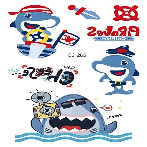 adgkitb 5pcs Tatouage Requin Pirate pour Enfant de Bande dessinée Faux Enfants tatuajes Temporales Art imperméable Autocollant de Tatouage temporaire EC-265 12 x 7,5 cm