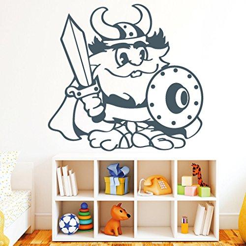 """Wandtattoo Loft Wandaufkleber """"Wikinger"""" - Wandtattoo / 54 Farben / 4 Größen/ lustiger Wandsticker für das Kinderzimmer / elfenbein / 35 (Höhe) x 36 (Breite) cm"""