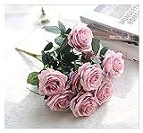 lliang Fleur Artificielle 10 têtes Fleurs Soie Artificielle Rose...