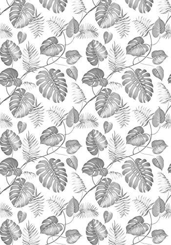 Deco&Fun - Alfombra Vinílica Nature Tropical Palm Gris 200x140cm - Alfombra PVC Alfombra vinílica Cocina- Alfombra vinílica salón - Alfombras de Vinilo