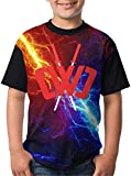 NKF Chad Wild Clay Boys and Girls Print T-Shirts, Youth Fashion Tops (S) Black