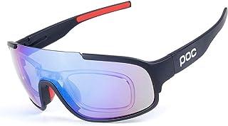 Ciclismo Gafas para correr Polarized Sports Sunglasses Protección UV400 Diseño de marco superligero para hombres y mujeres 3 lentes intercambiables 8 colores ( Color : Black Red frame Blue lens )