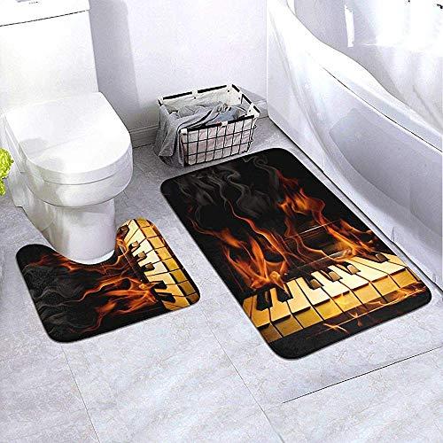 GABRI Badezimmer Teppich Set 2 Stück Brennen Klavier Flammen Flaming Keys Musik U-Form Kontur Teppiche & Badematten Saugfähig rutschfest