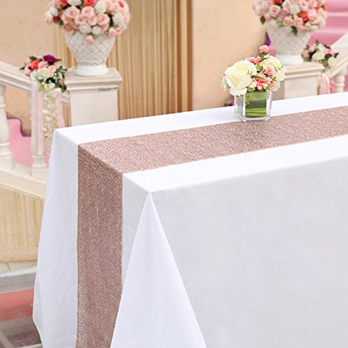 TRLYC 1 Piece 12x72 Inches Rose Gold Sequin Table Runner Home Party Wedding Table Decoration