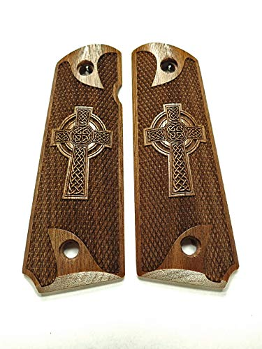 Celtic Cross Walnut Full Size 1911 Grips Checkered Engraved Texture #1