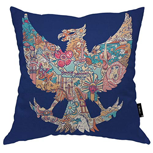 Seemuch Indonesien Floral in Dragon Throw Pillow Cover Animal Bird Flower Cloud Monkey Island Nature Warm Cushion Case Cotton Linen for Home Office Sofa Chair Bedroom 50,8 x 50,8 cm