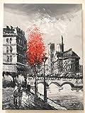 VIANAYA Tableau Peinture sur Toile Paris - Peint à la Main et à l'huile - Motif Notre Dame de Paris - Grande Taille 30CM*40CM- sur Chassis Bois Rigide