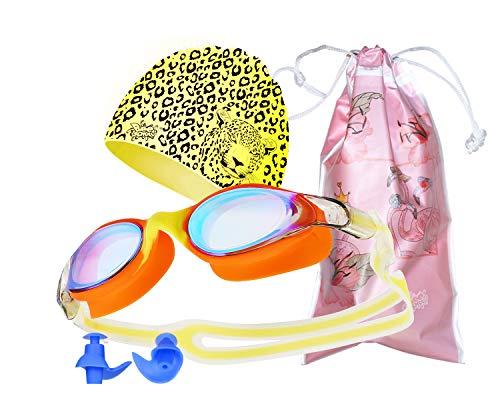 Bee School Swim Goggles and Cap, No Leaking Anti Fog UV Protertion Triathlon, for Adult Men Women Youth Kids (Yellow,Grey)