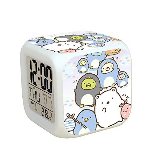 Kids nachtkastje digitale wekker LED kleurrijk nachtlampje sfeerwekker vierkante klok aanrakingsschakelaar muis reis kleine wekker met USB-aansluiting voor opladen cadeau voor kinderen Q9018