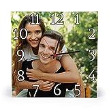 Gifty Lab Orologio Personalizzato con la Tua Foto - Orologio da Parete in Legno - Quadrato 30cmx30cm, Numeri Classici