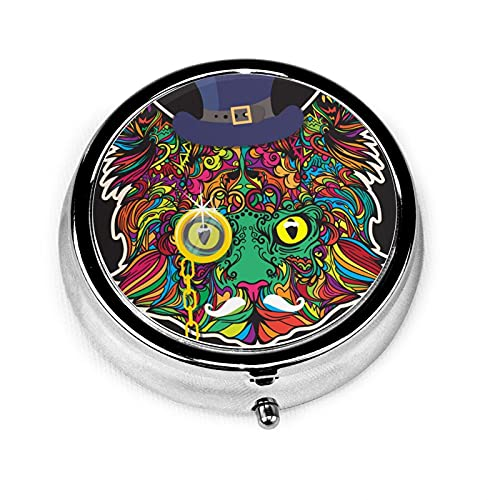 Coloring Face Of Cat With Hat Custom Fashion Silver Round Pill Box Medicine Tablet Holder Wallet Organizer Case For Pocket Or Purse Vitamin Organizer Holder Decorative Box