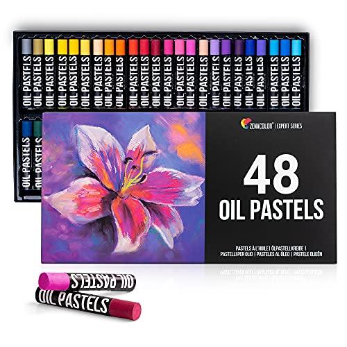 Zenacolor - Set da 48 Pastelli ad Olio - Pastelli a Olio dai Colori Profondi e Resistenti all'Acqua - Pastelli Morbidi Senza Residui - Scatola Pastelli Professionali per Artisti