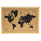 Mapa mundi de corcho pared marco madera natural - Mapa del mundo para marcar viajes - Tablero de corcho - Regalos originales para viajeros - Diseñado y fabricado en España por Milimetrado