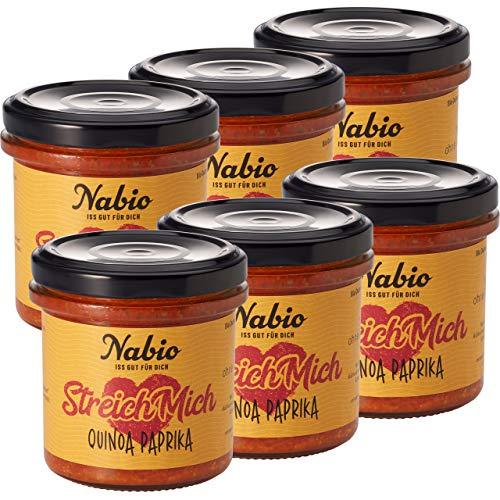 Nabio Quinoa Paprika, Bio Brot-Aufstrich, vegan, 6er Pack (6 x 140 g)