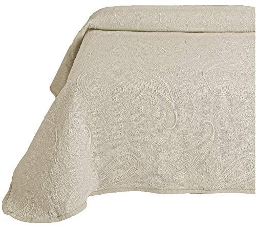 Colcha Cubrecama SABRI de Jacquard Cashmere en Color Blanco, Gris o Beige (Todas las medidas). (Beige, 180x260 (cama 90))