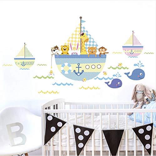 Cartoon tier piratenschiff boot PVC wandaufkleber für kinderzimmer wanddekor zimmer wasserdicht badezimmer dekoration 50x70cm