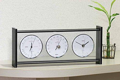 エンペックス気象計 温度湿度計 スーパーEXギャラリー気象計 温度 気圧 湿度 時計表示 置き用 日本製 ブラック EX-793