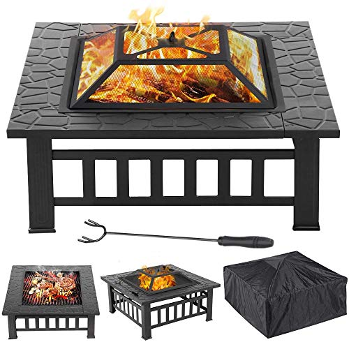 Yaheetech Garden Patio Heater,Large 3 in 1 Outdoor Fire Pit Square Stove Brazier for Heating, Cooling Drinks with Cover/Poker
