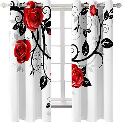 AMDXD 2 Paneles Cortina Poliester Salon, Cortinas de Ventana Dormitorio Flores Rosa y Vid de Hojas Cortinas Decorativas, Rojo Negro Blanco, 214x138CM