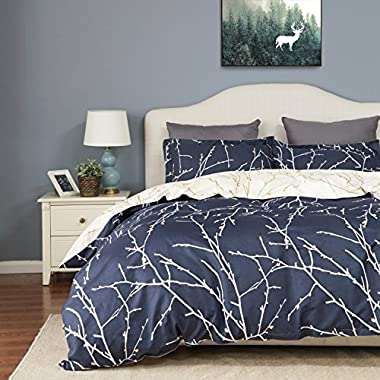 Bedsure Duvet Cover Set with Zipper Closure-Branch and Plum Blue Printed Pattern,King (104 x90 )-3 Piece (1 Duvet Cover + 2 Pillow Shams)-110 gsm Ultra Soft Hypoallergenic Microfiber