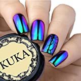 Esmalte cromado camaleónico en polvo para uñas con efecto espejo cambiante