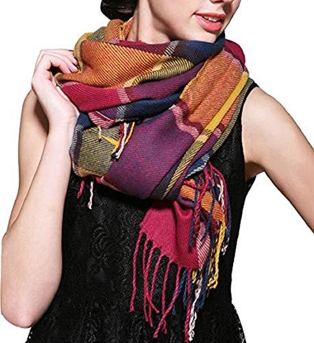 heekpek Mujeres caliente Mantas Cozy Pashmina bufanda larga tartán enrejado mantón (Arcoiris)