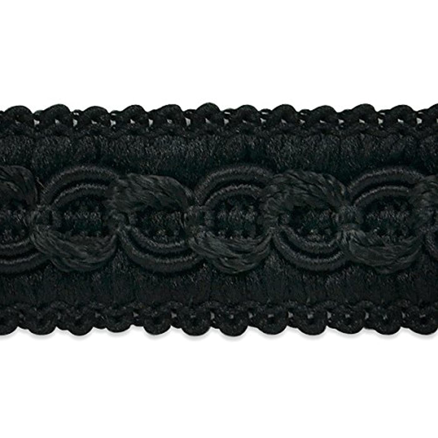 Expo International Sheena Woven Circle Braid Trim Embellishment, 20-Yard, Black