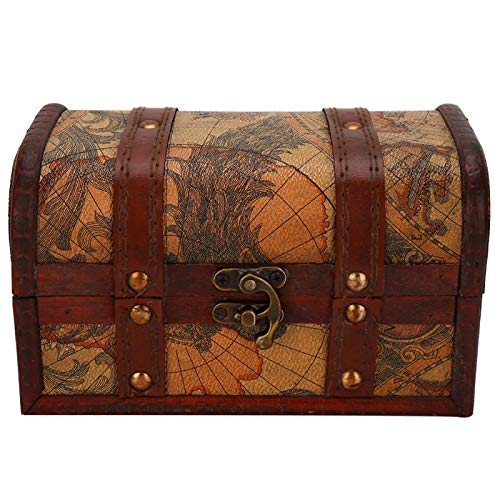 Jeanoko Caja de Madera práctica del Caso del Almacenamiento de la joyería Durable para la Oficina casera de la decoración de la Mesa(Map Trumpet)
