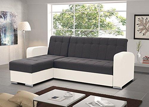 Don Baraton anticrisis.net Sofa Chaise Longue Cama con arcón – Salerno (Gris/Blanco, Chaise Longue Izquierda)