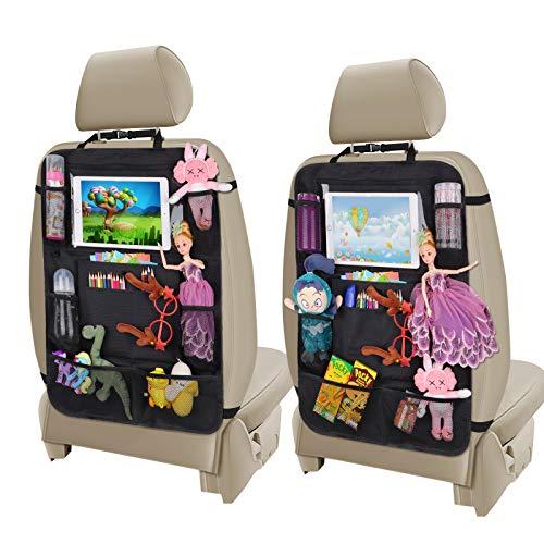 penobon Organizador de asiento de coche, organizador de almacenamiento de coche, protector de asiento trasero para niños, con pantalla...