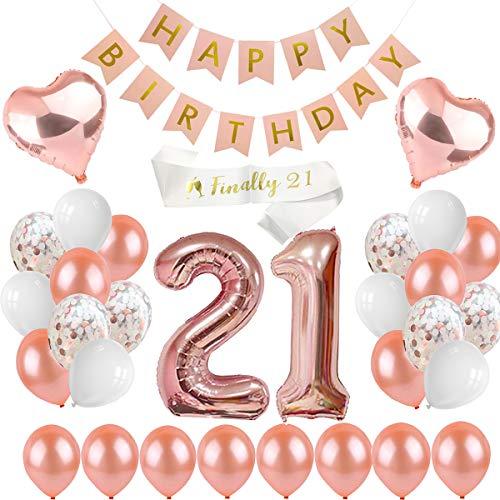 PEIPONG Decoraciones de 21 cumpleaños oro rosa, pancarta de feliz cumpleaños, 21 globos de látex y confeti, 30 unidades de globos para decoración de fiesta de cumpleaños para niñas