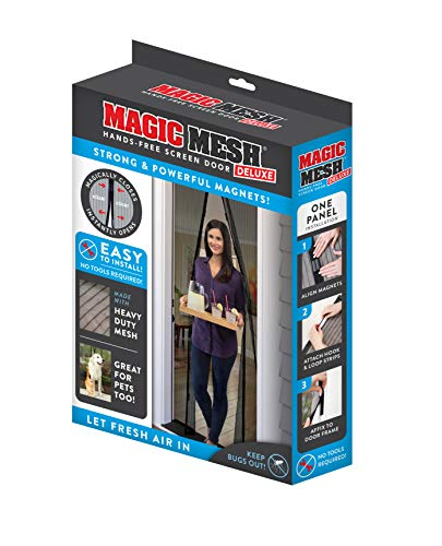 Magic Mesh Deluxe- Black- Hands Free Magnetic Screen Door, Mesh Curtain Keeps Bugs Out, Frame Hook & Loop, Hands Free, Pet & Kid Friendly- Fits Doors up to 39 x 83 Inches