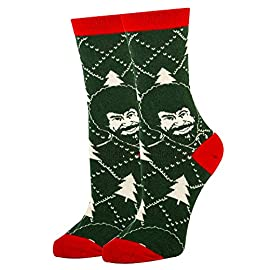 Oooh Yeah Women's Novelty Crew Socks, Funny Socks for Bob Ross, Holiday Socks, Christmas Socks, Crazy Socks 1 COMBED COTTON Women's sock size 9-11. women's Shoe Size 5 to 10 ,One size fits most women. BOLD & BRIGHT - Welcome to the year of the pattern. Whether you prefer to wear them on shirts, pants, or blazers, bold patterns are taking the world by storm. Socks aren't immune from the pattern fever, and for good reason- colorful socks add a unique punch to any outfit, from dressy suits to casual jeans. QUALITY CONSTRUCTION - They are constructed to look good and built to last. The high quality construction gives these socks extra durability and flexibility during wear. For you, this means a pair of socks great for all day wear, no matter what you're up to. Standing on your feet working, formal events, even lounging around the house, Socks are great for any occasion
