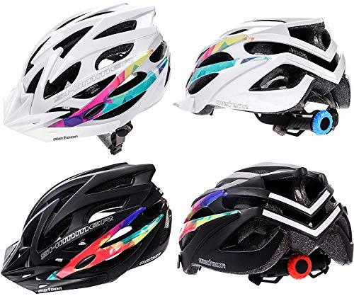meteor Casco Bici Ideale per Giovani e Adulti Donna e Uomo Caschi Perfetto per Downhill Enduro MTB Scooter Helmet per Tutte Le Forme di attività in Bicicletta Shimmer (S (52-56 cm), Bianco)