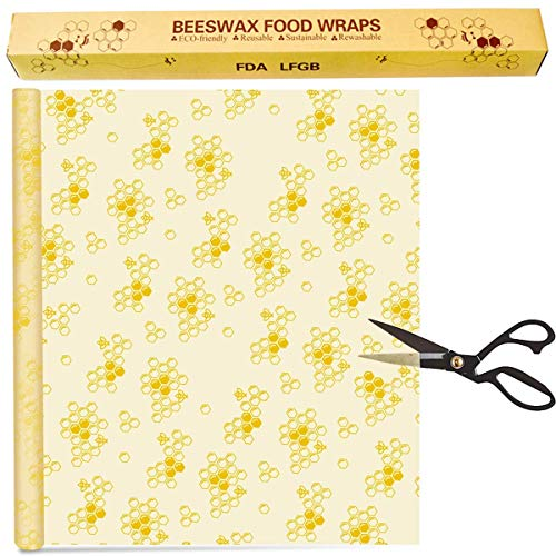 Bugucat Bienenwachs-Wraps,Bio Wachspapier Wiederverwendbare Bienenwachstücher aus natürlichem Bienenwachs Baumwolle,Keine Abfälle Frischhaltefolie für Lebensmittelaufbewahrung Beeswax DIY 35x100CM
