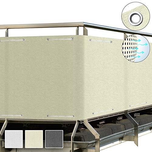 Sol Royal SolVision Balkon Sichtschutz HB2 HDPE blickdichte Balkonumspannung 90x500 cm – Geländer Sichtschutz Creme - mit Ösen und Kordel - in div. Größen & Farben