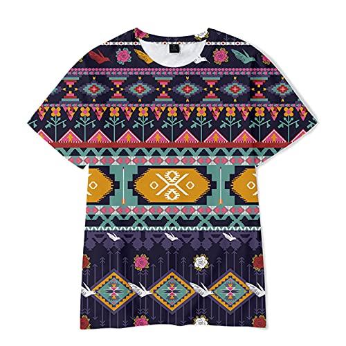 Aztekisches 3D-gedrucktes Kurzarm-T-Shirt Lustiges T-Shirt mit Rundhalsausschnitt für Jungen und Mädchen