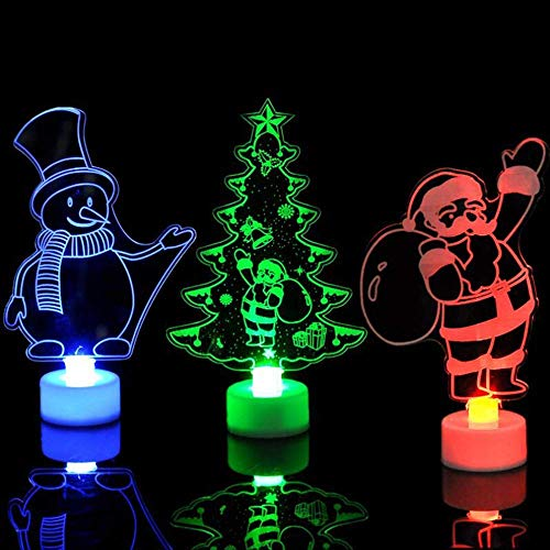 Ambient Light Christmas Creative Snowman Multi Color LED Night Light Clear Acrylic Christmas Tree Mood Lamp Night (Size : 3Pcs)
