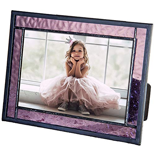 Purple Picture Frame Stained Glass Home Décor Office Deck Table Top 4x6 Photo Horizontal Vertical Easel Back Series J Devlin