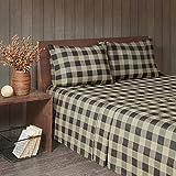 Woolrich Flannel Cotton Sheet Set Tan/Black Buffalo Check Queen