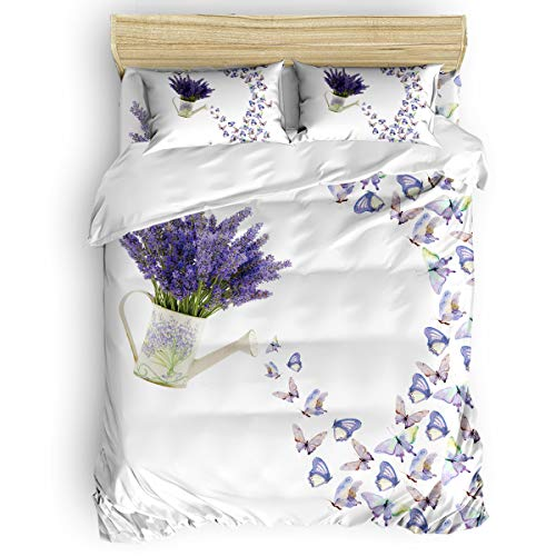 Big buy store Purple Lavender Butterfly 4 Piece Duvet Cover Set Watering Can Bed Sheets Quilt Cover for Kids/Adults Bedroom Decoration Full Size