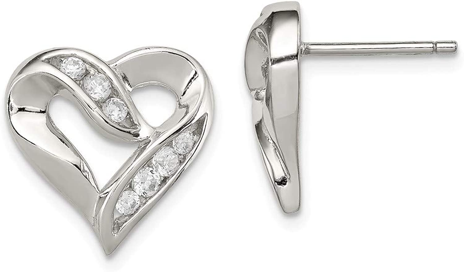 Beautiful Sterling silver 925 sterling Sterling Silver CZ Heart Earrings