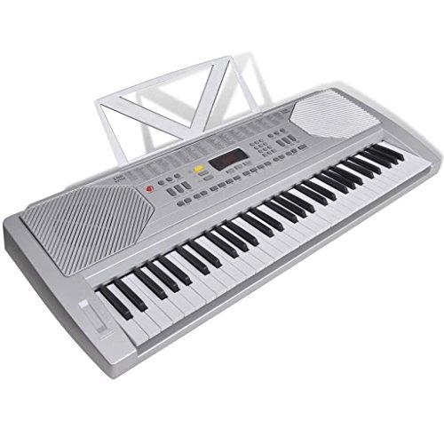 VidaXL Elektro Fun Keyboard E-Piano leerfunctie 100 geluiden/Rythmen piano muziekhouder zilver