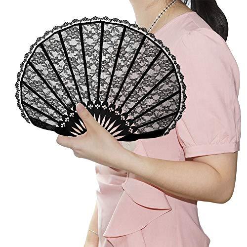 VICKSONGS Abanico Españoles [Diseño de Encaje Negro] Regalo para Baile Fiesta Ceremonias Regalos Verano, Decoración de Pared, artículos de Baile