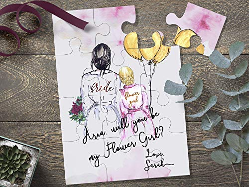Bride and Flower Girl Illustation Gift, Will You Be My Flower Girl Puzzle, Junior Bridesmaid Proposal Gift, Will You Be My Junior Bridesmaid